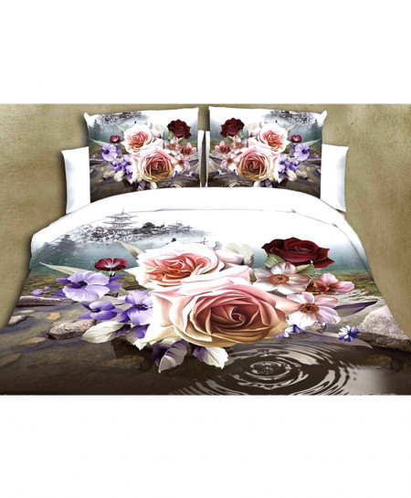 3D Varicolored Floral Satin Cotton Bedsheet SD-0182