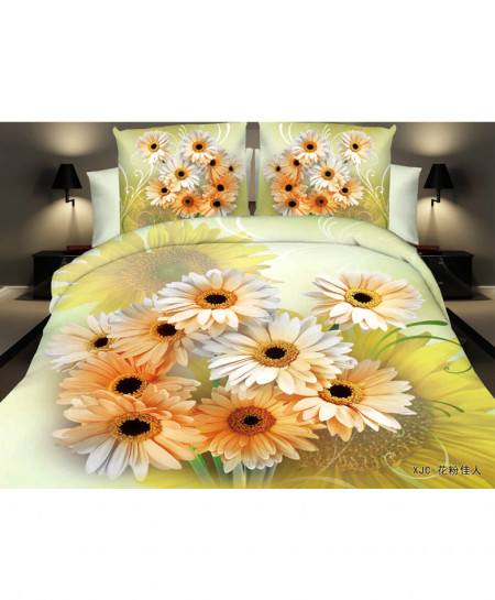 3D Lighgt Green Sunflower Satin Cotton Bedsheet SD-0307