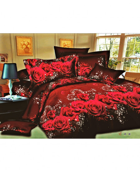 3D Maroon Roses Satin Cotton Bedsheet SD-0184