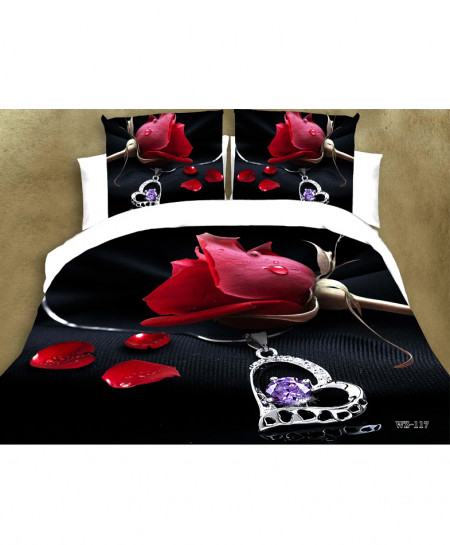 3D Black White Rose Satin Cotton Bedsheet SD-0166