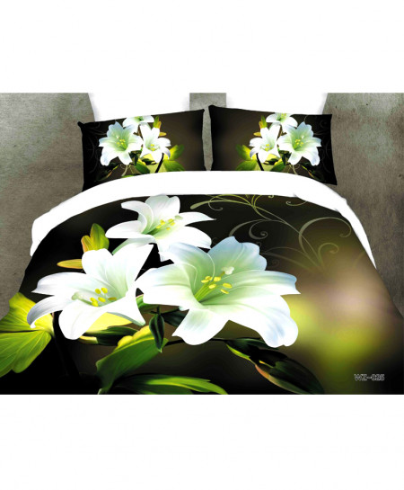 3D Dark Green Floral Satin Cotton Bedsheet SD-0200