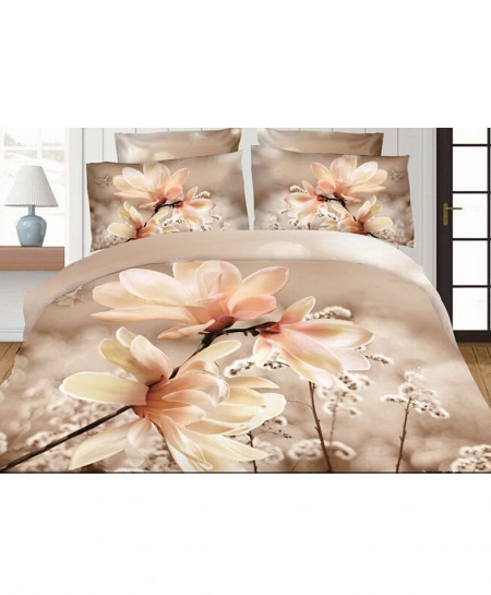 3D Light Brown Floral Satin Cotton Bedsheet SD-0304