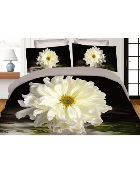 3D Varicolored Floral Satin Cotton Bedsheet SD-0193