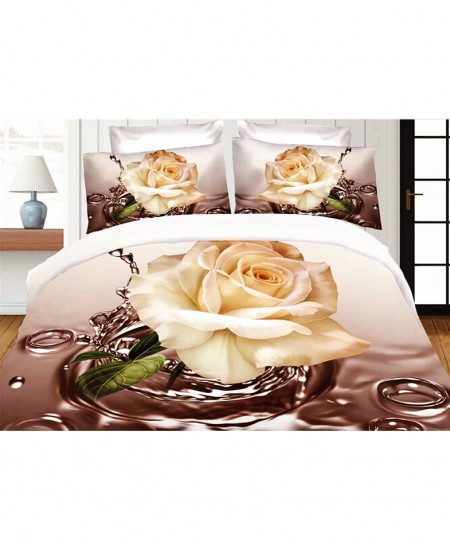 3D Brown White Floral Satin Cotton Bedsheet SD-0301