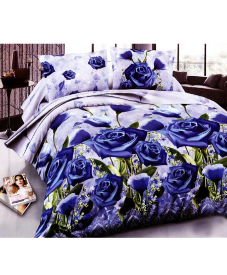 3D Royal Blue Floral Satin Cotton Bedsheet SD-0345