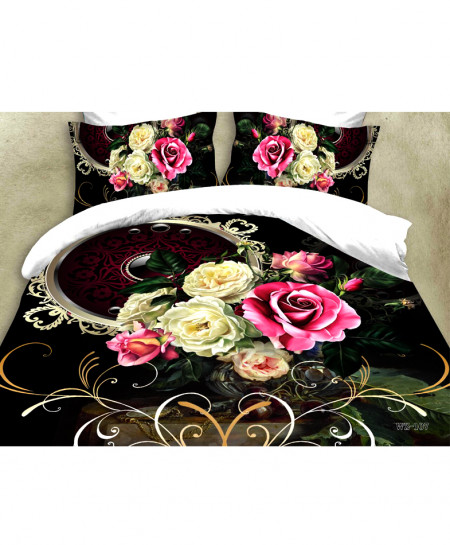 3D Black Floral Satin Cotton Bedsheet SD-0174
