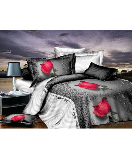 5D Grey White Roses Satin Bedsheet HD-1085