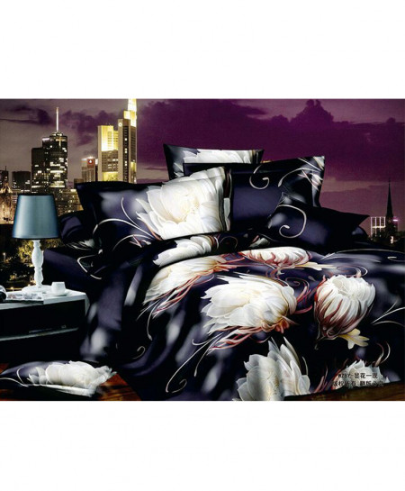 5D Dark Navy Blue Floral Satin Bedsheet HD-1084