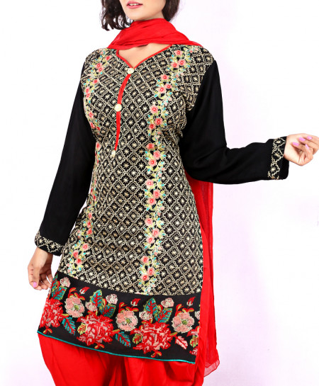 Black And Red Embroidered Stylish Ladies Suit With Patiala Shalwar NGL-009
