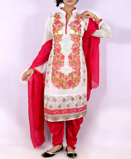 White Embroidered Stylish Ladies Suit With Patiala Shalwar NGL-010
