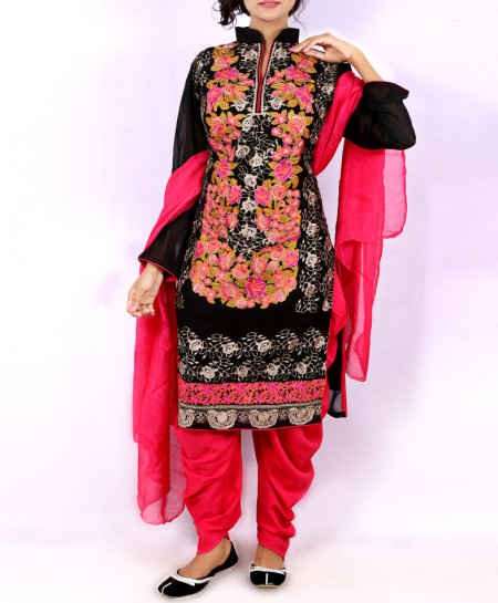 Black Embroidered Stylish Ladies Suit With Patiala Shalwar NGL-011
