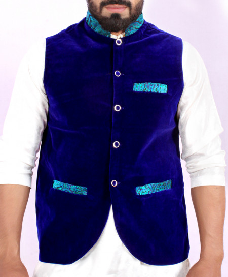 Royal Blue Velvet Stylish WaistCoat ABS-15