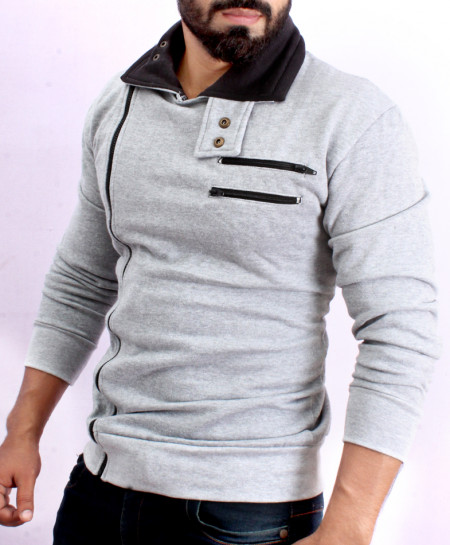 Grey High Collar designer Style Fleece Mock FS-1011
