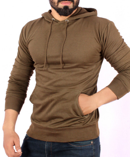 Olive Green Terry Kangaroo Pullover Hoodie FS-1017