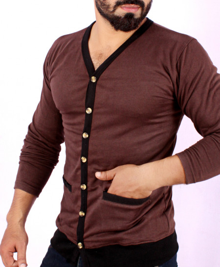 Choco Brown Terry Cardigan Full Sleeves T-Shirt FS-1019
