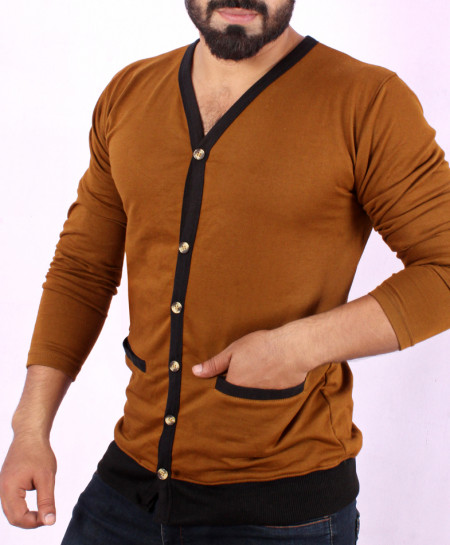 Mustard Brown Terry Cardigan Full Sleeves T-Shirt FS-1020
