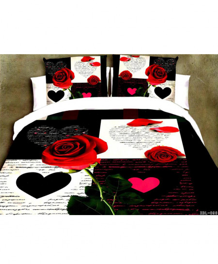 5D White Black Love Roses Satin Cotton Bedsheet HD-392