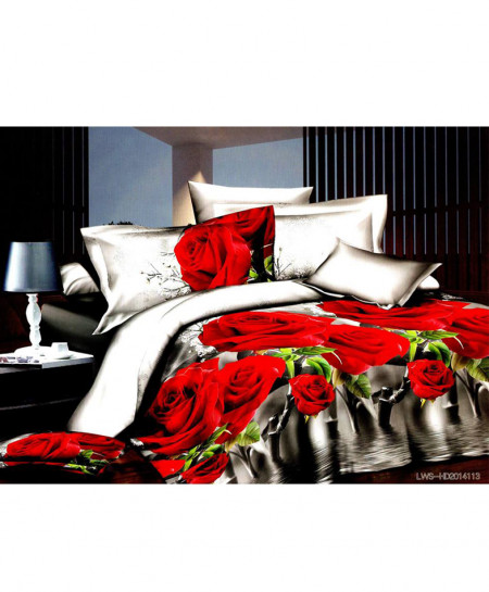 5D Grey White Roses Satin Cotton Bedsheet HD-285