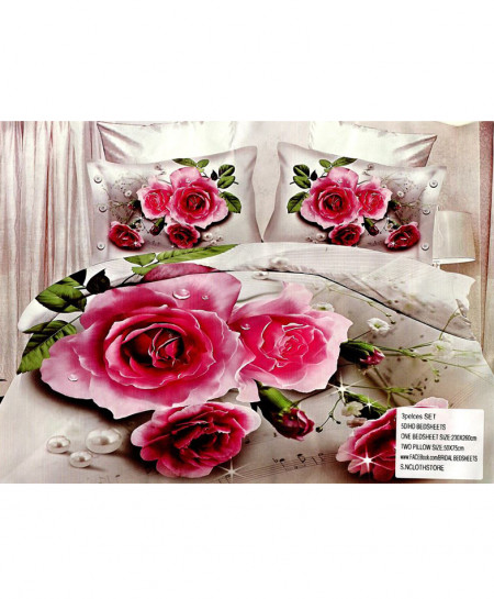 5D Silver Floral Satin Cotton Bedsheet HD-393