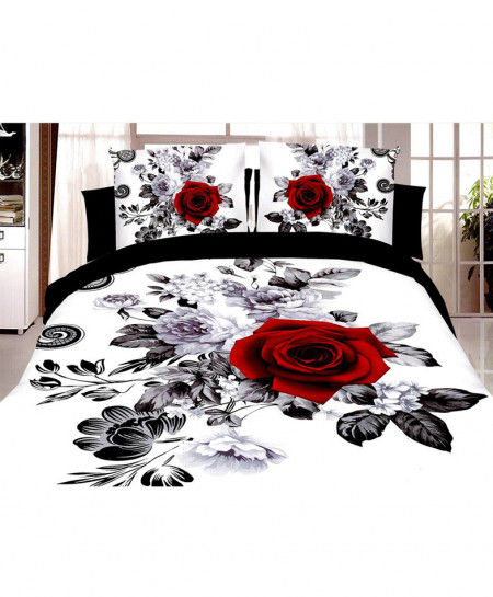 5D White Black Rose Satin Cotton Bedsheet HD-383
