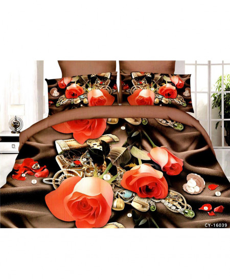 5D Camel Brown Floral Satin Cotton Bedsheet HD-386
