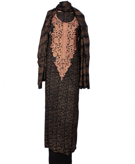 Black Peach Embroidered Neck Unstitched Suit IK-8023