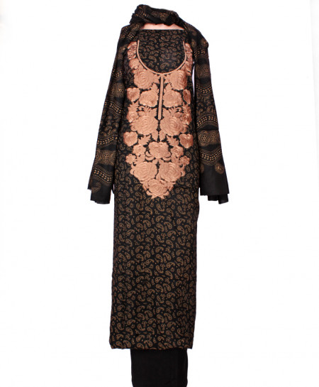 Black Peach Embroidered Neck Unstitched Suit IK-8025