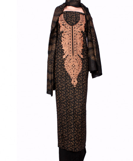 Black Peach Embroidered Neck Unstitched Suit IK-8026