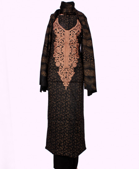 Black Peach Embroidered Neck Unstitched Suit IK-8027