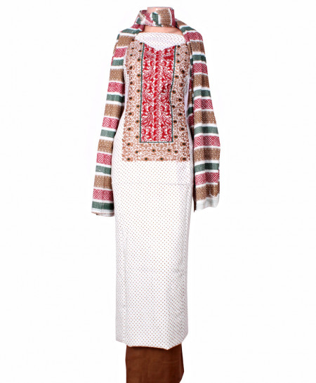 White Brown Embroidered Neck Unstitched Suit IK-8029