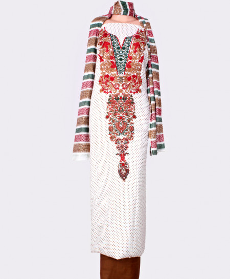 White Brown Embroidered Neck Unstitched Suit IK-8030