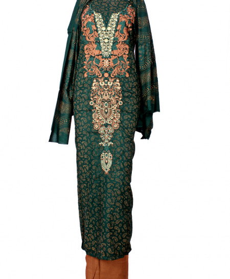Green Brown Embroidered Neck Unstitched Suit IK-8033