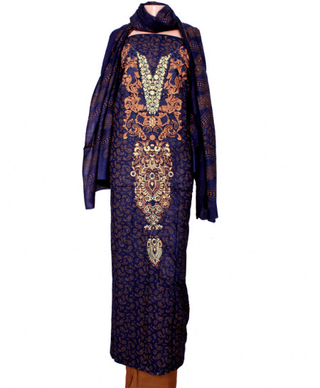 Blue Brown Embroidered Neck Unstitched Suit IK-8034