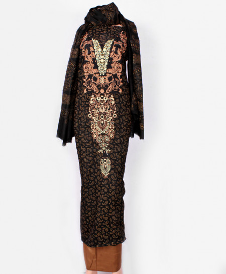 Black Brown Embroidered Neck Unstitched Suit IK-8035