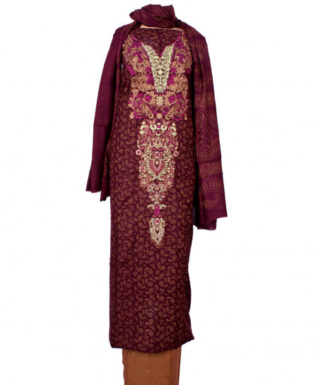 Maroon Brown Embroidered Neck Unstitched Suit IK-8036