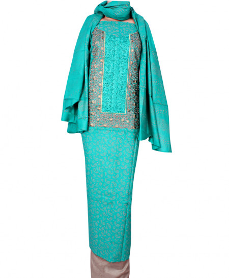 Blue Grey Embroidered Neck Unstitched Suit IK-8038