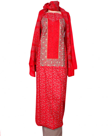 Red Grey Embroidered Neck Unstitched Suit IK-8039
