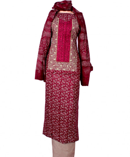 Magenta Grey Embroidered Neck Unstitched Suit IK-8040
