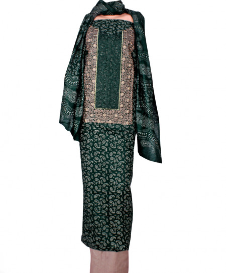 Dark Green Embroidered Neck Unstitched Suit IK-8042