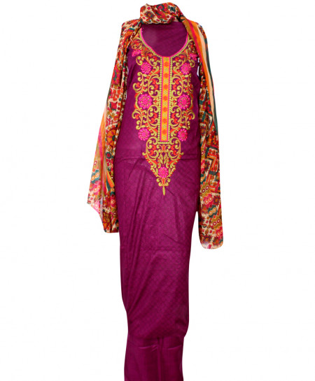 Purple Embroidered Neck Unstitched Suit IK-8046