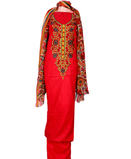 Red Embroidered Neck Unstitched Suit IK-8047