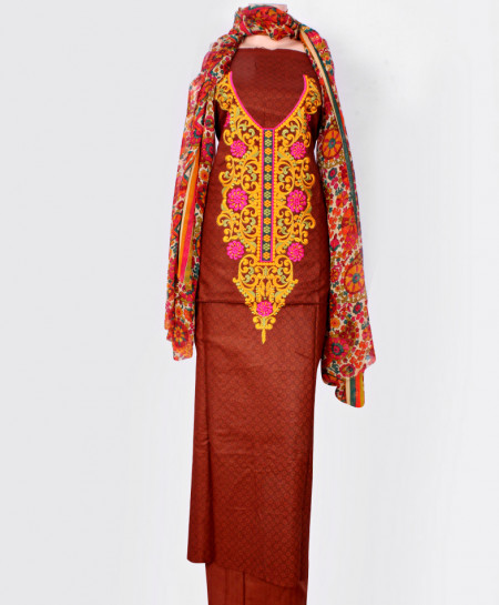 Brown Embroidered Neck Unstitched Suit IK-8049