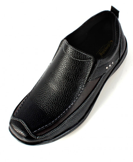 Black Textured Leather Stylish Slip On Casual Shoes SC-12