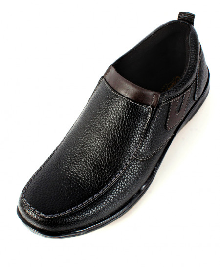 Black Textured Leather Stylish Slip On Casual Shoes SC-13