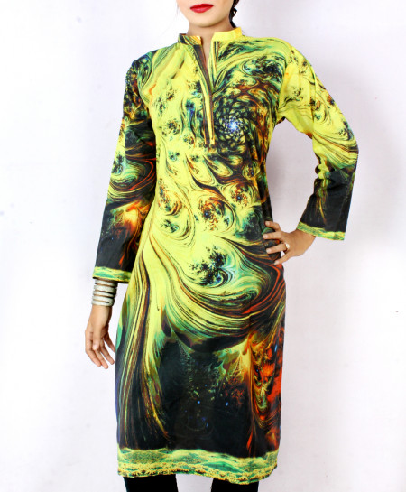 Blackish Lemon Digital Printed Ladies Kurti ARB-3101