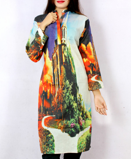 Creamy Fire Digital Printed Ladies Kurti ARB-3103