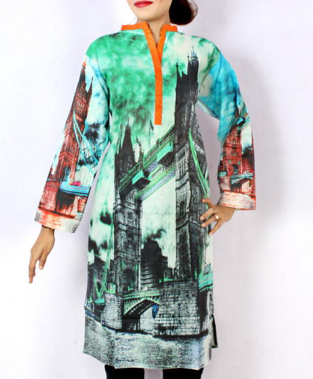 Blackish Aqua Digital Printed Ladies Kurti ARB-3105