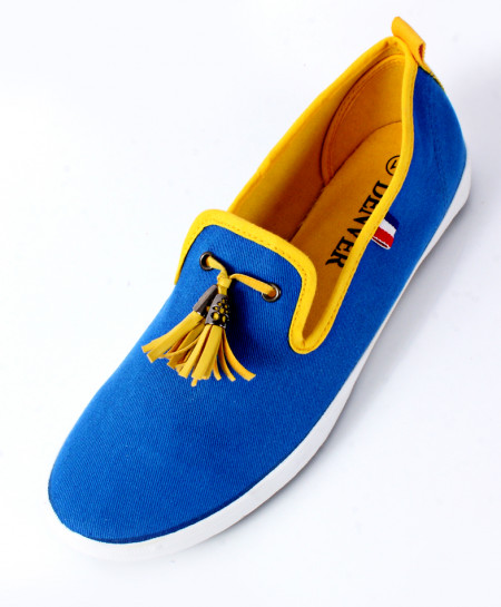 Royal Blue With Yellow Contrast Canvas Shoes SC-27