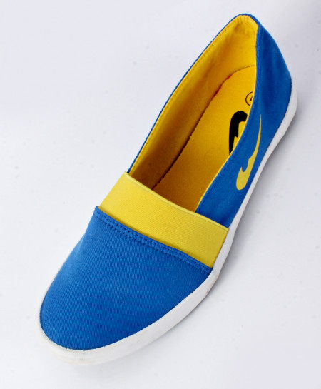Royal Blue And Yellow Canvas Shoes SC-0026