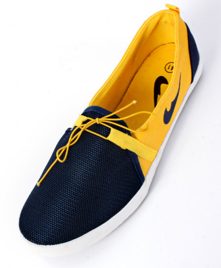 Navy Blue And Yellow Stylish Canvas Shoes SC-1013